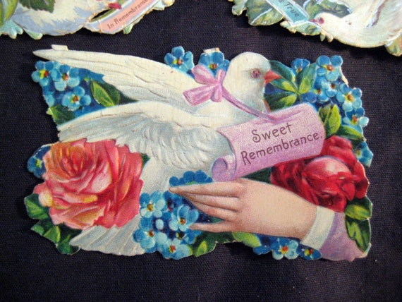 SALE  - 4 pieces of antique victorian scrap - birds, doves, sailboat - antique ephemera