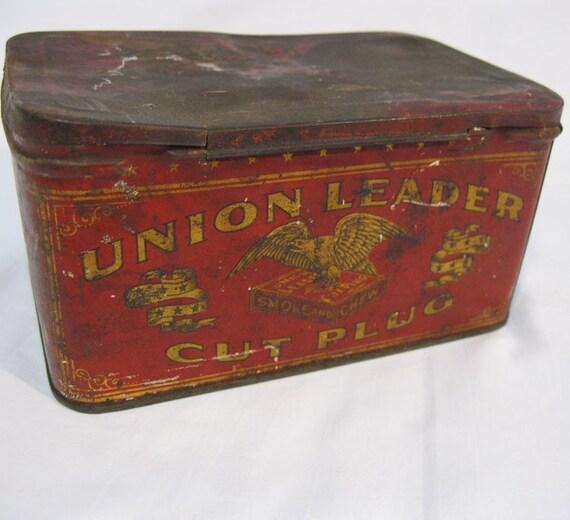 Vintage Tin Antique Tin Union Leader Cut Plug Tobacco Tin