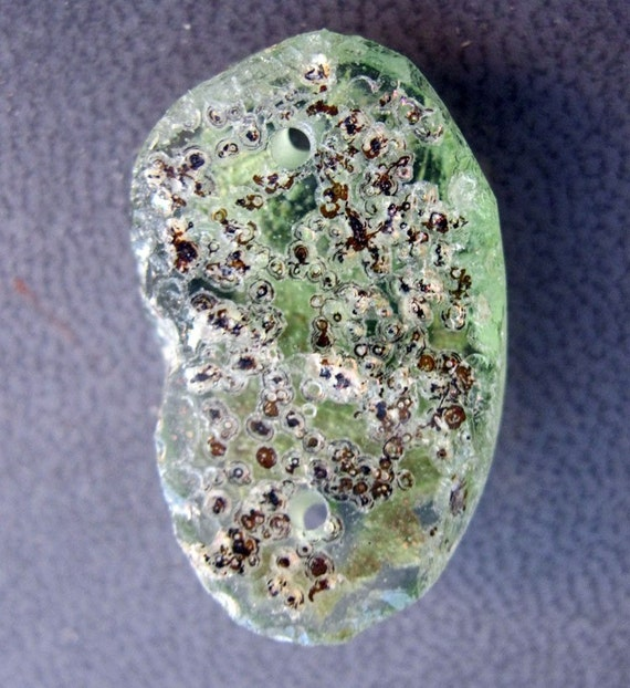 SALE - ancient glass fragment bead - 1000 to 2000 years old - IRIDESCENT natural patina, focal, light green, drilled