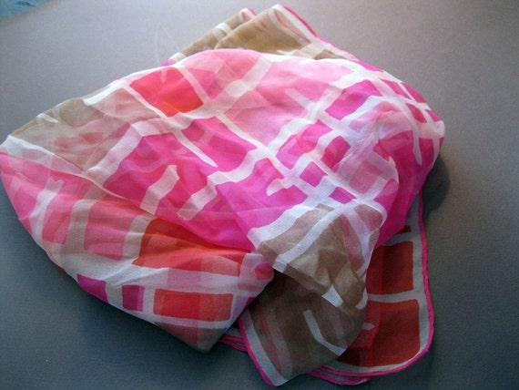 SALE - vintage silk scarf - retro graphics - pink, cocoa brown, and white - handrolled silk - Giu Cietto