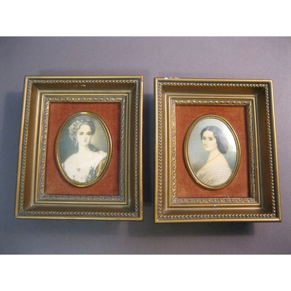 2 vintage CAMEO Creations framed prints - gold tone frames with faux cameos