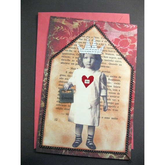 handmade altered art greeting cards - 2 cards, house, home, fairy, wings, crowns, unique, original collage art