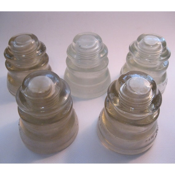 5 vintage glass insulators - INSTANT COLLECTION - CLEAR, Hemingray - industrial chic