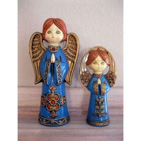 Sale 2 Vintage Angel Figurines Retro Bright By Theartfloozy