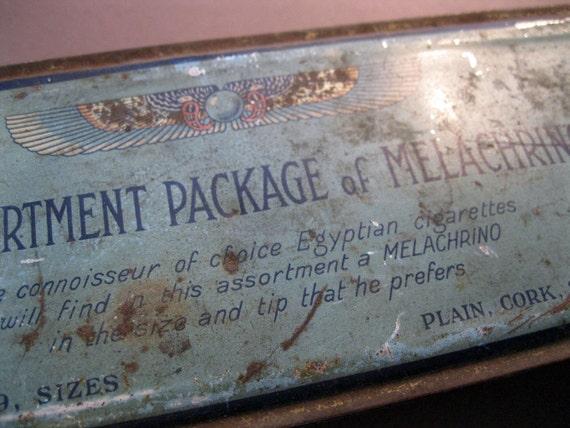 SALE - antique cigarette tin - Melachrino - EGYPTIAN cigarettes, aqua color tin, fabulous graphics