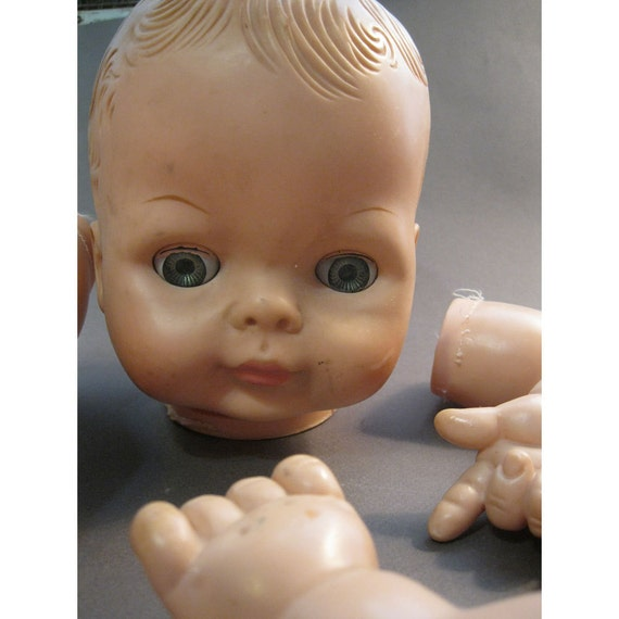 doll parts from 1965 VOGUE DOLL - plastic, vinyl - odd, creepy, outsider, body parts, assemblage