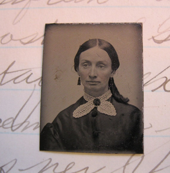 SALE - miniature tintype photo - WOMAN - GT145