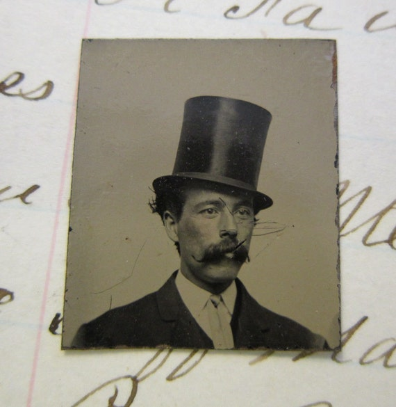 miniature antique GEM tintype photo - man in TOPHAT with large bushy mustache - ferrotype - late 1800s - lot GTA1