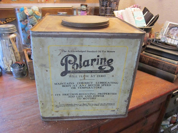 SALE - large antique POLARiNE can - oil, lubricant, Standard Oil Company - chippy green