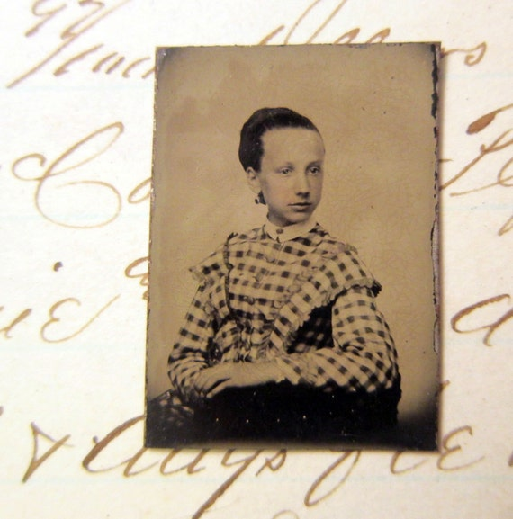 RESERVED for Sabine - antique miniature gem tintype photo - GIRL in plaid dress, sitter, high contrast - late 1800s, ferrotype - GTA88