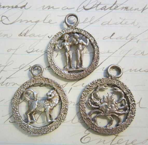 3 vintage handmade horoscope charms - Gemini twins, Leo lion, and Cancer crab - pendant charms, cast, lost wax