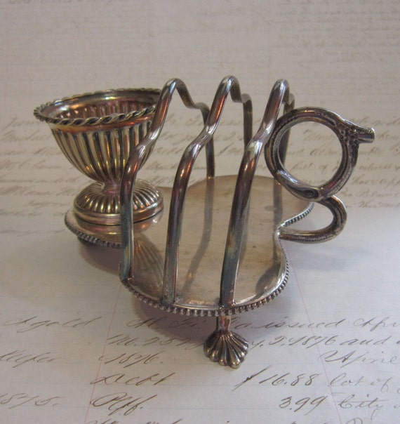 SALE - antique TOAST TRAY with egg cup - Henry Wilkinson and Co - late 1800s - silverplate