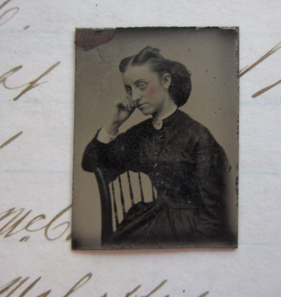 antique miniature GEM tintype photo - pondering WOMAN, pensive, sitter - late 1800s, ferrotype - GTB08