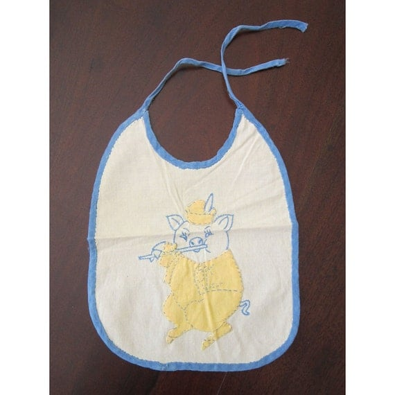antique handmade baby bib - embroidered little PIGGY playing flute - blue and yellow applique on muslin - fabulous