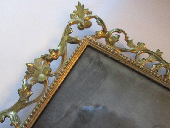 SALE - vintage brass frame - cast, metal, baroque, flourish, rectangular opening - rococo