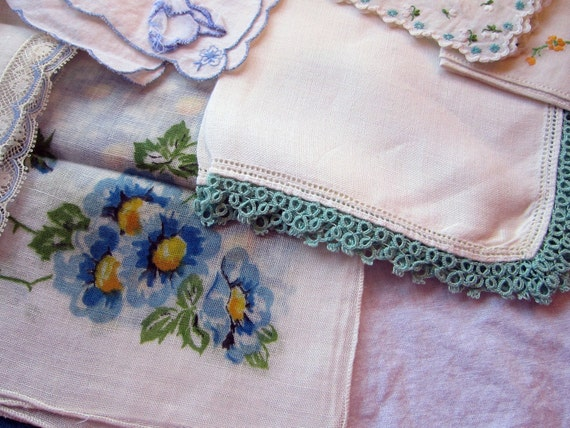 10 vintage HANKIES - AQUA and teal assortment - lovely patterns, embroidery, cotton, lace - retro