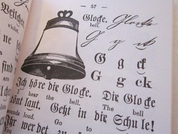 vintage book - GERMAN PRIMER - 1987 reprint of 1881 primer - fabulous lettering and illustrations