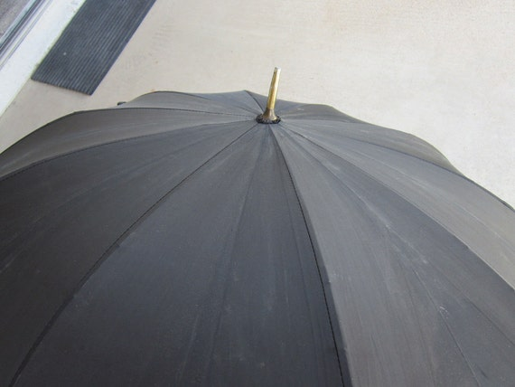 vintage umbrella - black nylon taffeta