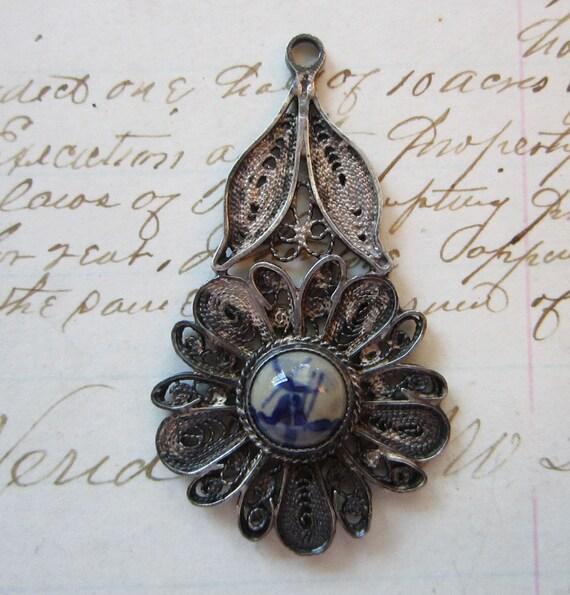vintage delft pendant - windmill, flower, blue delft