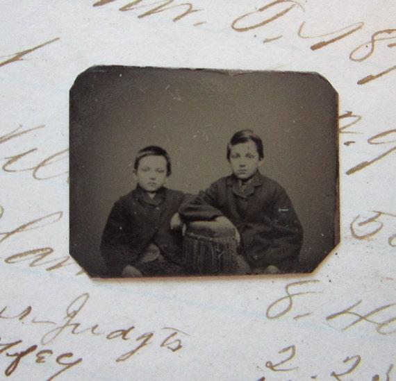 SALE - tiny antique gem TINTYPE photo - boys, brothers, unique horizontal format - GTC95
