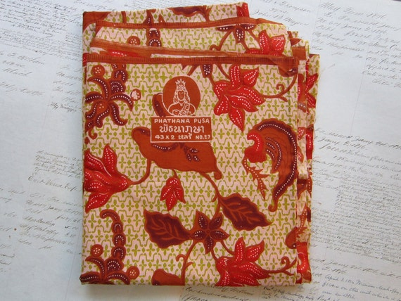 SALE - cotton fabric - 1.75 yards - Phathana Pusa - exotic floral print