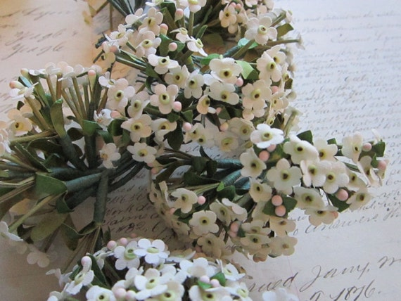 RESERVeD for polesud - SALE - vintage millinery flowers - white linen FoRGET ME NOTS - 3 bunches