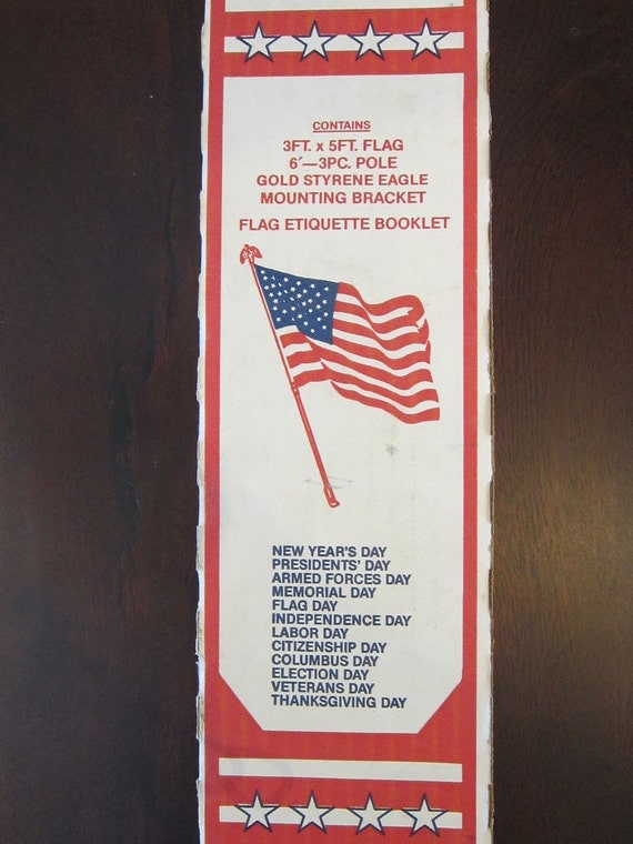 vintage American FLAG kit - includes flag, pole, eagle, and mounting bracket - in original box