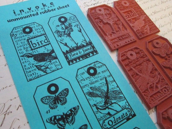 rubber stamps - NATURE TAG set - birds, butterflies - unmounted