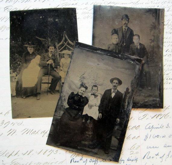 tintype DESTASH - 3 tintype photos - men, women, and children - families - TT428
