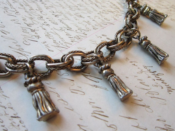 vintage bracelet - silver tone chain with TASSLE charms - repair, repurpose