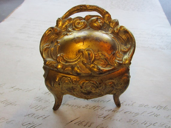 small antique cast jewelry box - metal, lined, ornate - jewelry casket
