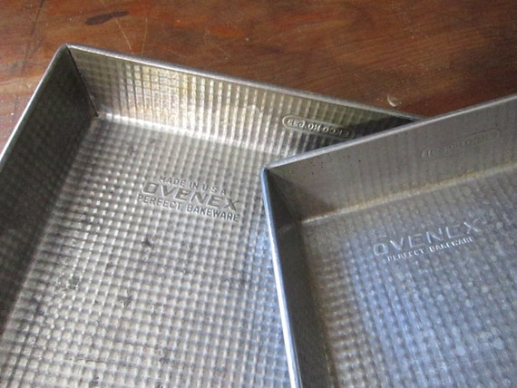 2 vintage OVENEX baking pans - ECKO - rectangle and square cake pans, textured