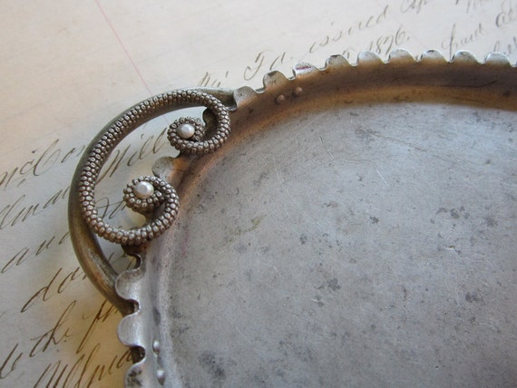 small vintage aluminum tray - ornate handles and decorative edge - oval