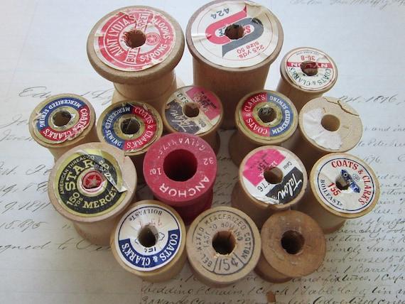 15 vintage wooden thread spools - empty