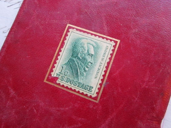 SALE - small vintage stamp book - read leather