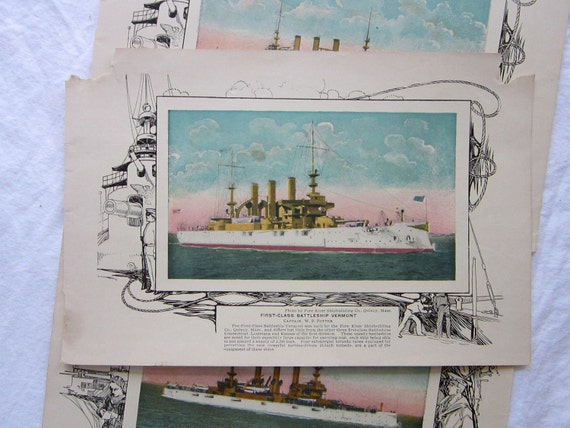 3 BATTLESHIP prints from antique book - color plates