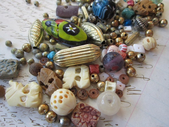 vintage bead mix - exotic - metal, urchin, bone, and more