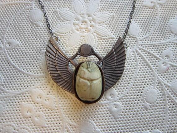 vintage SCARAB necklace