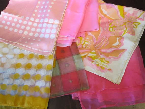 6 vintage scarves - PINK and ORANGE assortment - most silk, Marshall Fields, Schiaparelli