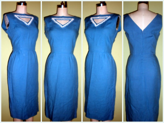 Reserved Gorgeous to die for VINTAGE 50s 60s Peek a Boo Key hole Shimmer Shimmy Wiggle Cocktail Dress VLV