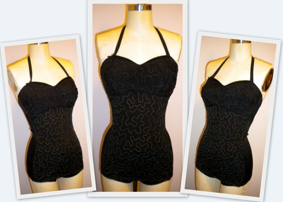 50s soutache Lace all over Swimsuit Bathing Suit Halter Designer pool side car show fun VLV Va Va Voom Pinup Show Stopper