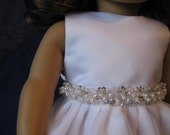 communion dress and veil with pearl and rhinestone beading will fit 18 inch dolls such as American Girl