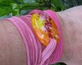 Flower Bouquet fused glass wrap bracelet on hand dyed silk ribbon Serenity Bracelet