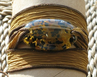 Leopard Serenity Bracelet - wrap bracelet fused glass on silk ribbon, worry stone