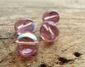 Clear Purple AB Round Window Glass Beads Czech Glass - Quantity of 4