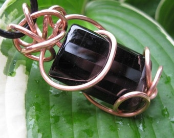 Faceted Black Onyx Copper Wrap Pendant