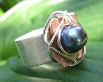 Sterling Silver-Copper Wire Wrapped Pearl Ring