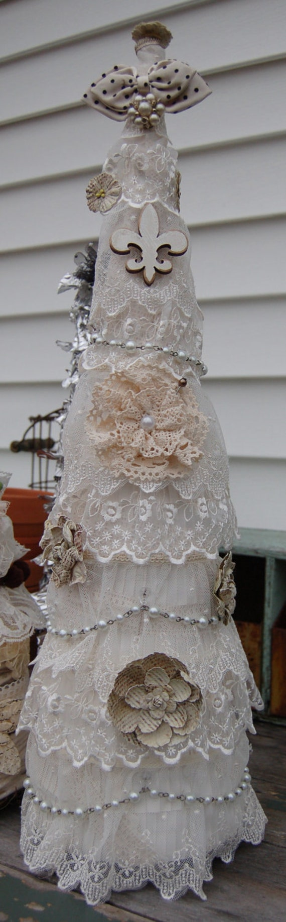 Cottage, Shabby Chic, French Christmas Tree.  ECS