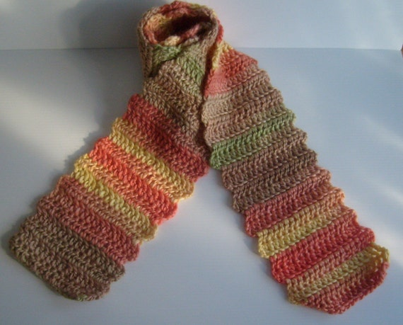 Autumn Harvest - Rippled Edge Striped Acrylic Wool Scarf