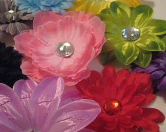 CLEARANCE Flowers Clips or just stems - Daisy - Peony - Rose - Lily - Clip - Headband - Lot - shoes, shirt, scrapbooking, craft